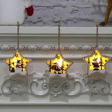 Vintage Christmas Wooden Pendants Ornaments Decorations for Home House Decoration With Led Light