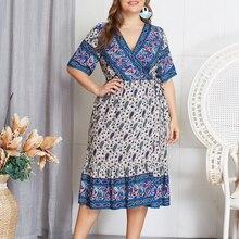 цены на Plus Size Women's Print Dress Fashion Short Sleeve A-Line Lady Dress Summer V Neck Ladies Dresses Casual Empire Print Dress в интернет-магазинах