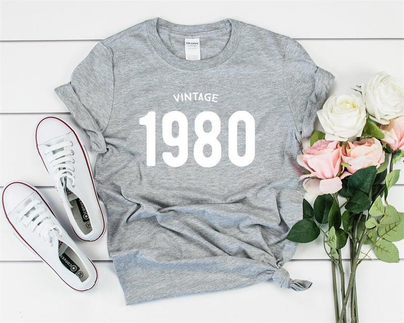H4e22d16d95fd4b05a5ba0303899a6a52k - Vintage 1980 40th Birthday Party Shirt Funny Graphic Cotton Women Tshirt Short Sleeve Tees Plus Size O Neck Female Gift Clothing