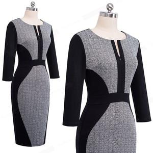 Image 3 - נחמד לנצח נשים רטרו ניגודיות טלאים ללבוש לעבודה עסקים vestidos משרד Bodycon רוכסן נדן נשי שמלת B409