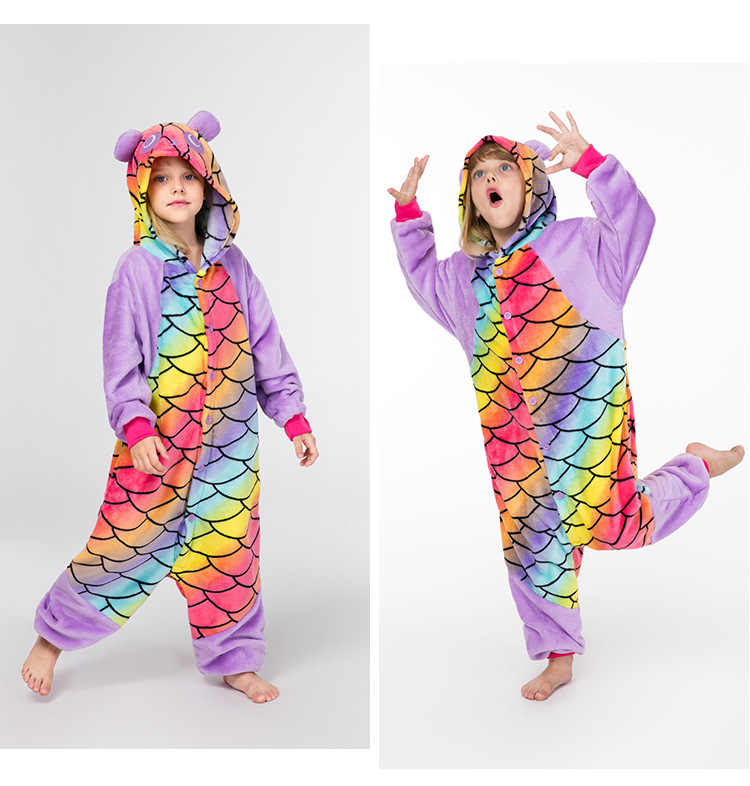ילדי קוספליי בנות Kigurumi דגים בקנה מידה פנדה Onesies פיג 'מה Cartoon פיג ליל כל הקדושים תלבושות הלבשת פנדה סרבל בגדים