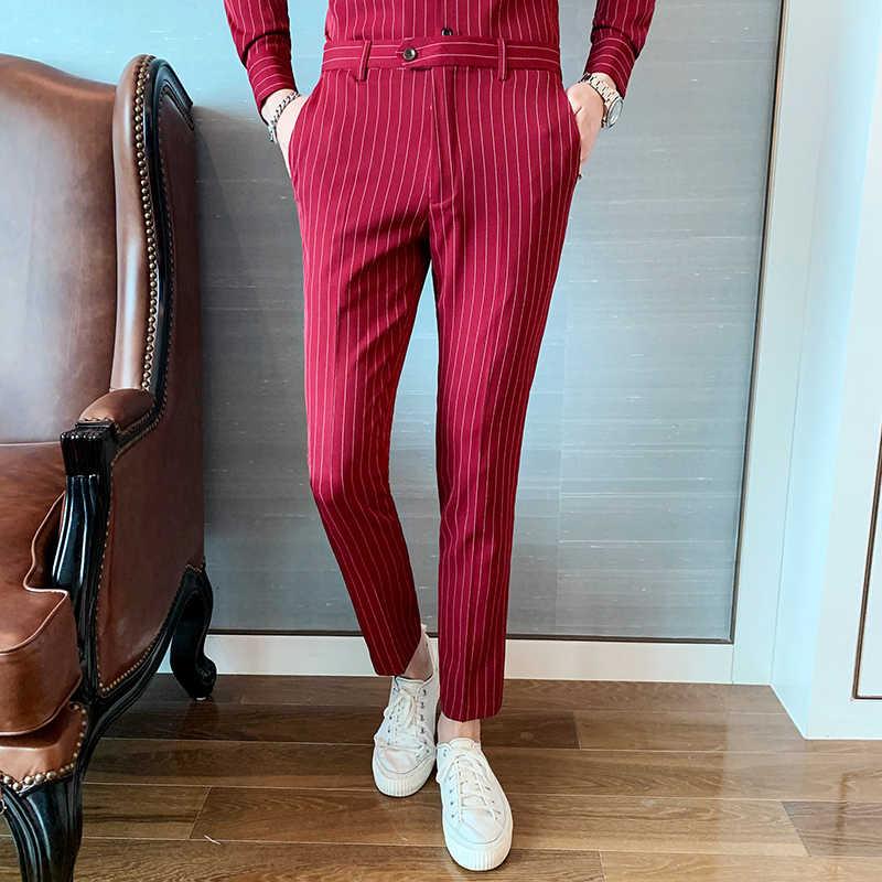 Pantalones rojos Hombre Trajes Pantalones Pantalón Elegante Uomo Erkek Parfum rayas hombres pantalones Formal Erkek Pantalon Slim Fit vestido Pantalones