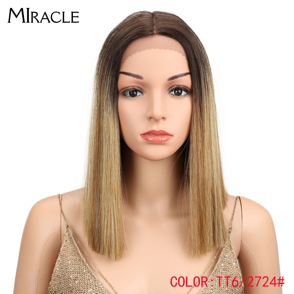 Miracle Ombre Hair Density Bob Wig Brown Blonde Middle Part Straight Short Synthetic Lace Front Pixie Cut Wig For Black Women