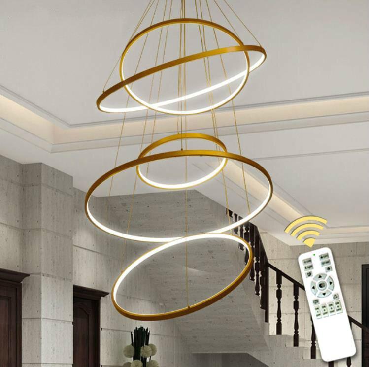Işıklar ve Aydınlatma'ten Tavan Işıkları'de 5 halka 60 80 100 80 60cm Modern LED tavan ışık oturma yemek odası mutfak parlaklık Led asılı aydınlatma armatürleri title=