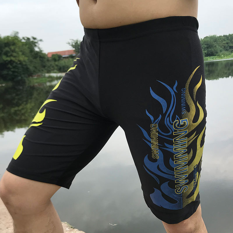 Hu Run Swimming Trunks Men Boxer Swimming Trunks Bathing Suit Short Adult Bubble Hot Spring Loose-Fit Beach Swimwear Seaside Equ