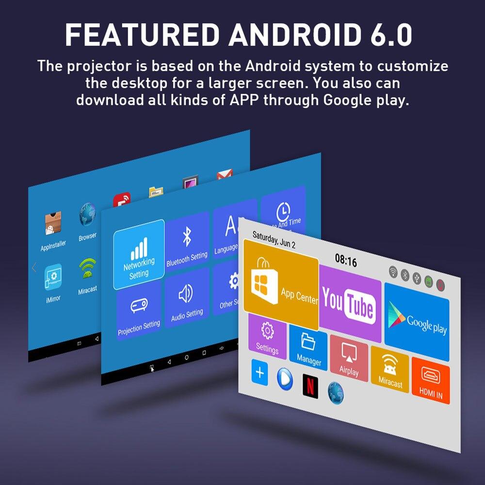 4K MINI projecteur Android 6.0 Smart DLP projecteur (RAM1G + ROM8G) WIFI bluetooth 4.1 pour 1080P Home Cinema Portable 3D vidéo Beamer - 3