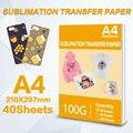 40 листов сублимационной термотрансферной бумаги A4 210*297 мм для струйного принтера, тканевая трансферная бумага для «сделай сам», одежда, чаш...