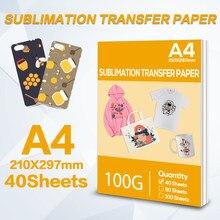 40 folhas de papel a4 210*297mm de transferência térmica da sublimação para impressora a jato de tinta papel de transferência da tela para a roupa de diy caso do telefone do copo