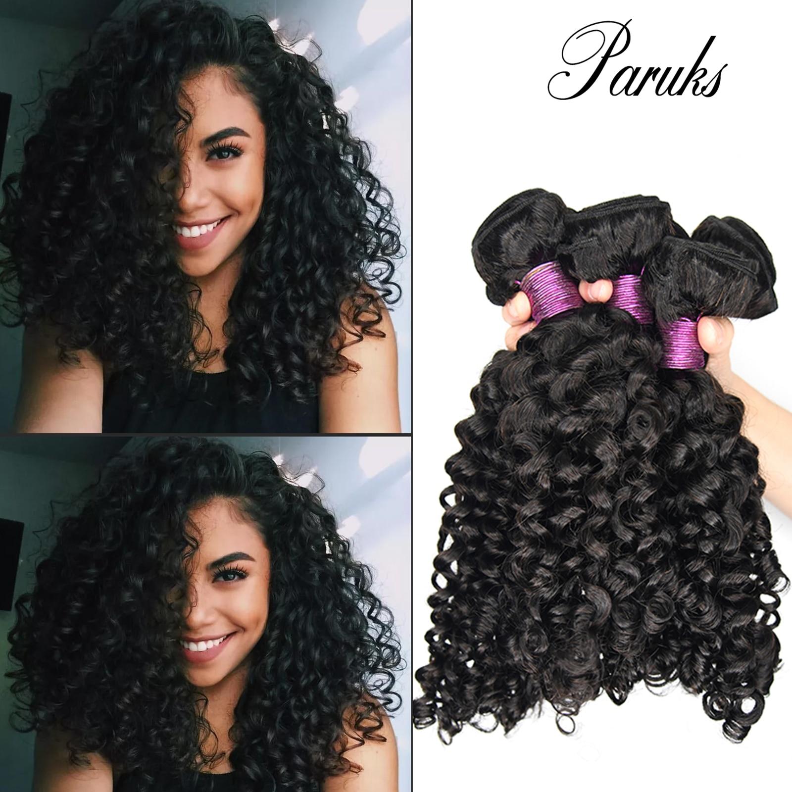 Paruks в итальянском стиле волнистые волосы бразильские виргинские волосы переплетения пряди 100% необработанные человеческие волосы Волосы ...