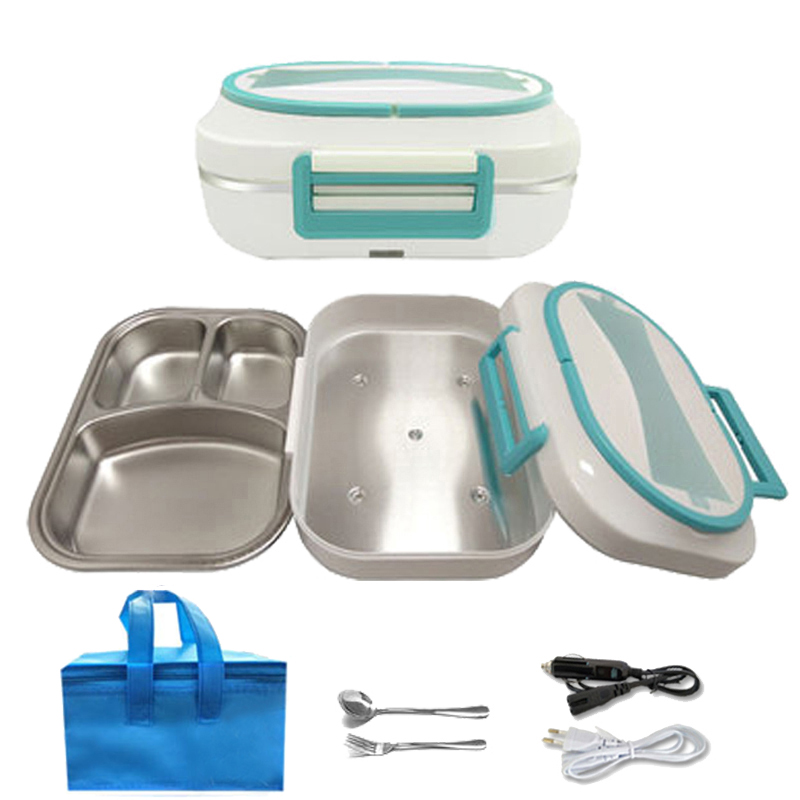 2 In 1 Dual Use 12V 220V 304 Stainless Steel Electric Lunch Box Food Heating Warmer Container Home Car Heater Portable Bento Box