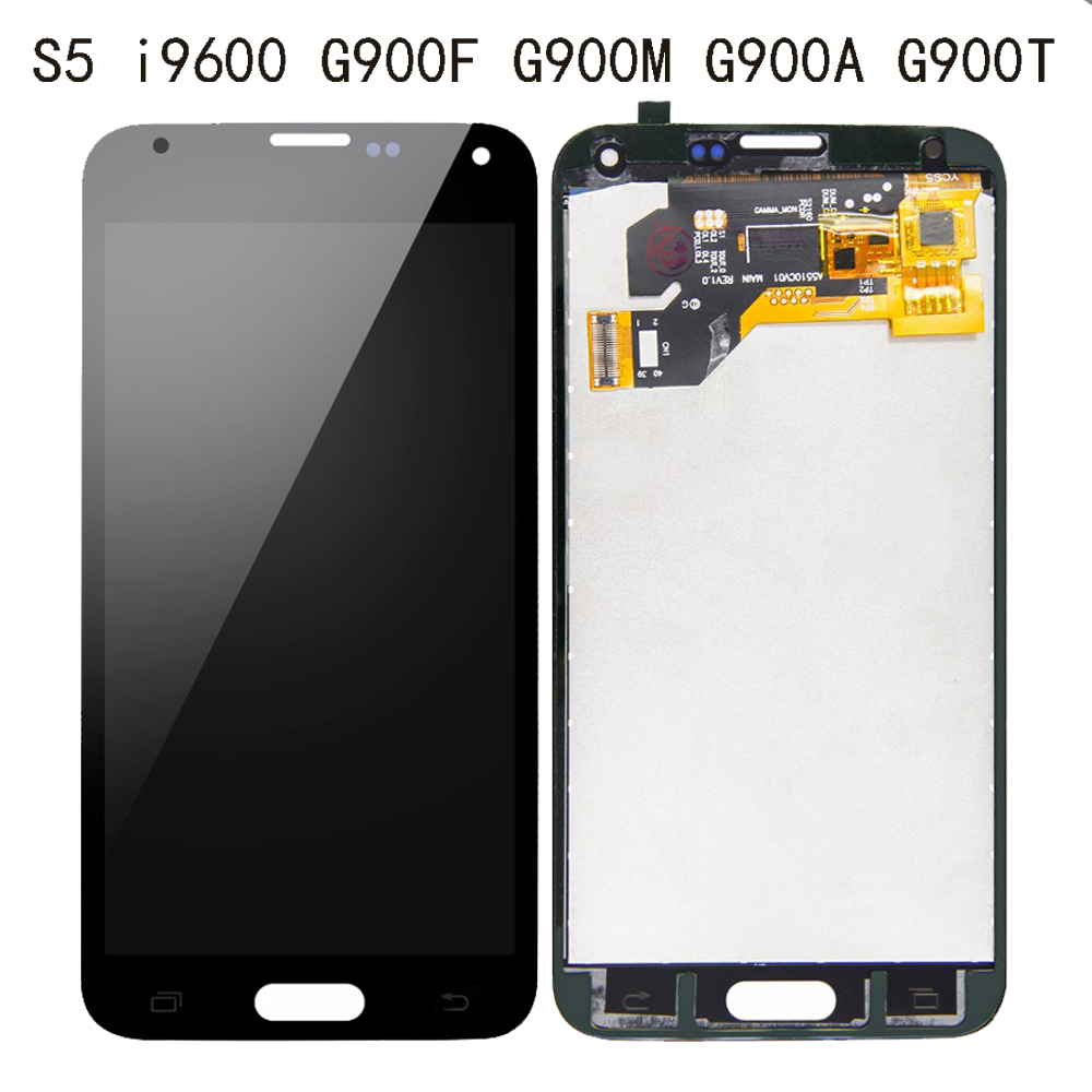 Super LCD For Samsung Galaxy S5 I9600 G900F G900M G900A G900T Display Touch Screen Digitizer Screen Replacement For G900