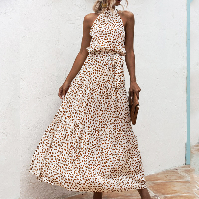 Summer Elegant  beach Women Dress  2020 long Print Flowers Polka-dot strap Ladies Halter boho Dress Vintage party ladies Dress 3