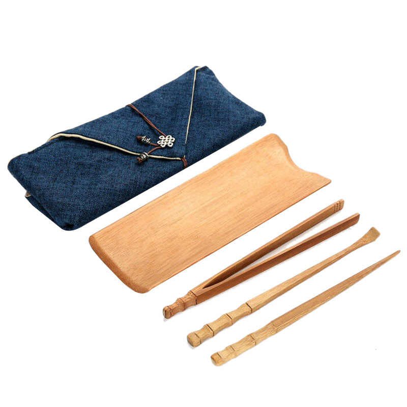 Bamboo Tea Tools Four Piece Tea Kung Fu Tea Tool Tea Spoon Tea Clip Tea Needle with Storage Bag|Teaware Sets| |  - title=