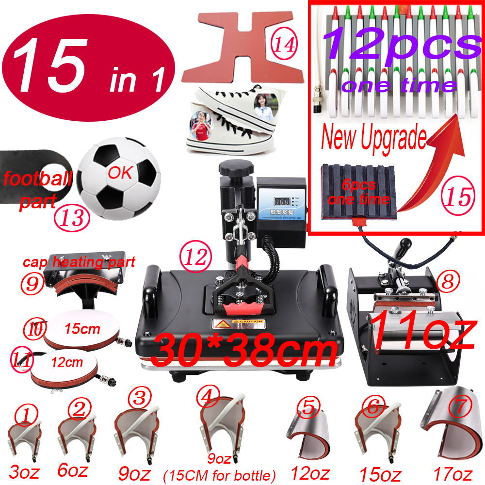 Heat-Press-Machine Sublimation-Pen T-Shirt Pen/Football/keychain for 15-In-1-Combo title=