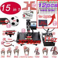 15 en 1 Combo Sublimation stylo presse à chaud Machine t-shirt transfert de chaleur imprimante pour tasse/casquette/chaussure/coque de téléphone/stylo/football/porte-clés