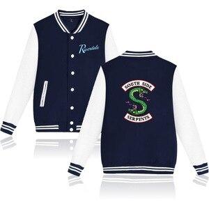 Image 4 - Logo impreso Southside Riverdale Serpents rosa/Negro chaquetas de béisbol hombres/mujeres Riverdale Serpents Streetwear abrigo