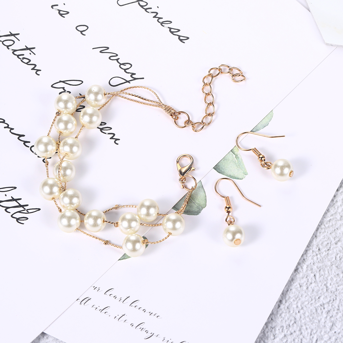 Elegant Style Imitation Pearl Wedding Jewelry Set For Women White Gold Color Necklace Earrings Ring Gift Fashion Jewelry S441