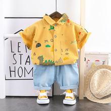 Летние комплекты одежды для мальчиков и девочек топы с мультяшным