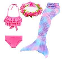 Cola De Sirena para niñas, trajes De baño, Zeemeerminstaart, Cola De Sirena, Sirena, Cosplay brillante, 4 piezas