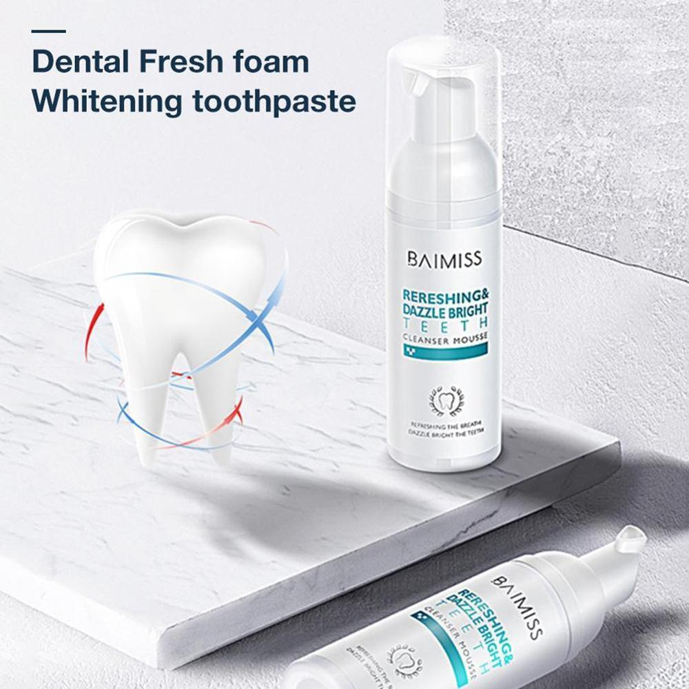 60ml Dental Foam Cleaning Teeth Fresh Breath Teeth Whitening Remove Bad Breath Portable Oral Mouth Cleaner Dental Care Natural