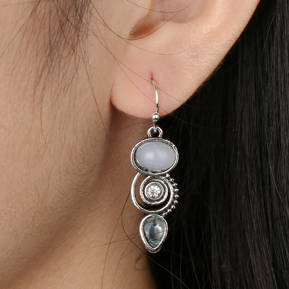 Bohemia Vintage Hollow Spiral Round Drop Earrings Blue Crystal Dangle Earrings Retro Charms Sexy Womens' Jewelry Gifts