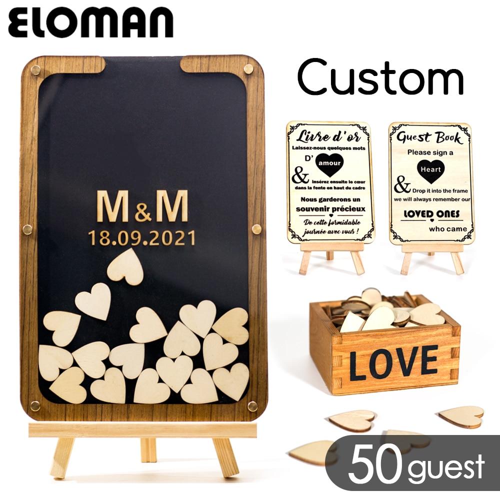 Personalizado assinatura casamento livro de hóspedes acrílico coração de madeira decoração de casamento alternativa para o presente do favor da caixa de gota