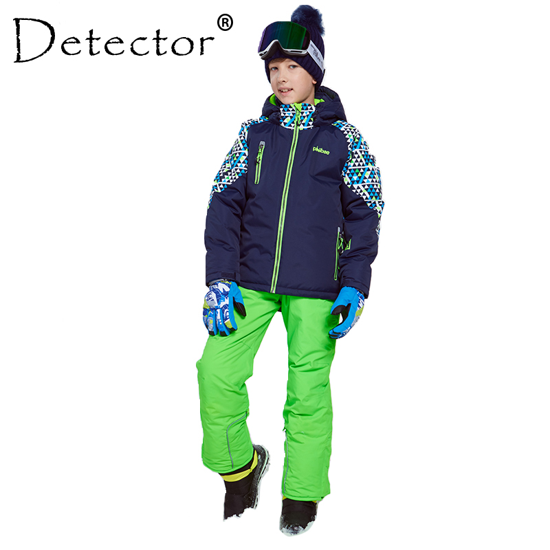 Detector Winter Ski Suit Thicken Boys Clothing Outdoor Set Snowboard Jacket Pants Winter Twinset Suitable -20-30 Degree