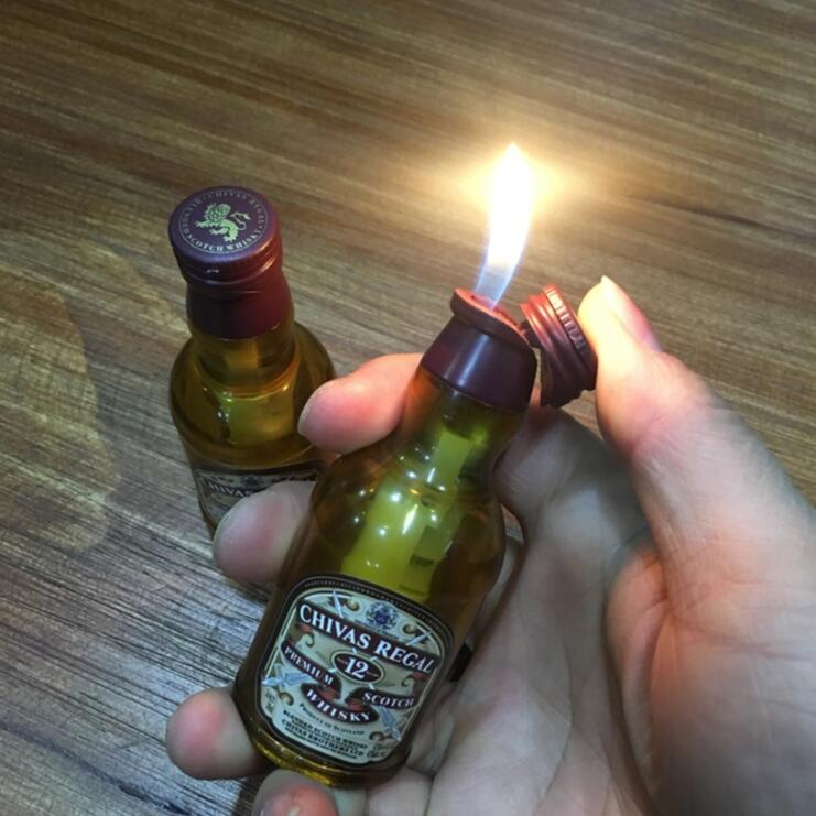 2in1 Novelty Lighter Wiskey Bottle Opener Chivas-Regal Windproof And Refillable Butane Lighter No Gas For Studio Background