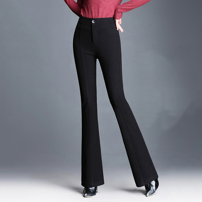 Lossky Flare Pants Plus Size High Waist Long Wide Leg Elastic Warm Bell Bottoms Classic Elegant Slim Suit Office Trousers Solid