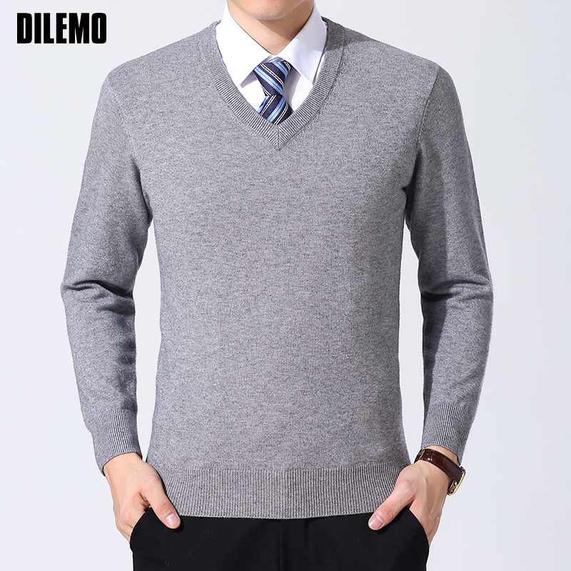 2019 New Fashion Brand Sweater Men Pullover Solid Color Slim Fit Jumpers Knitwear Thick Winter Korean Style  Casual Men Clothes