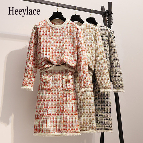 Plus Size OL Autumn Set 2019 Plaid Knitted Pullover Sweater And Skirts Sets 2 Piece Set Women Sweater Midi Skirts Two Pieces Set
