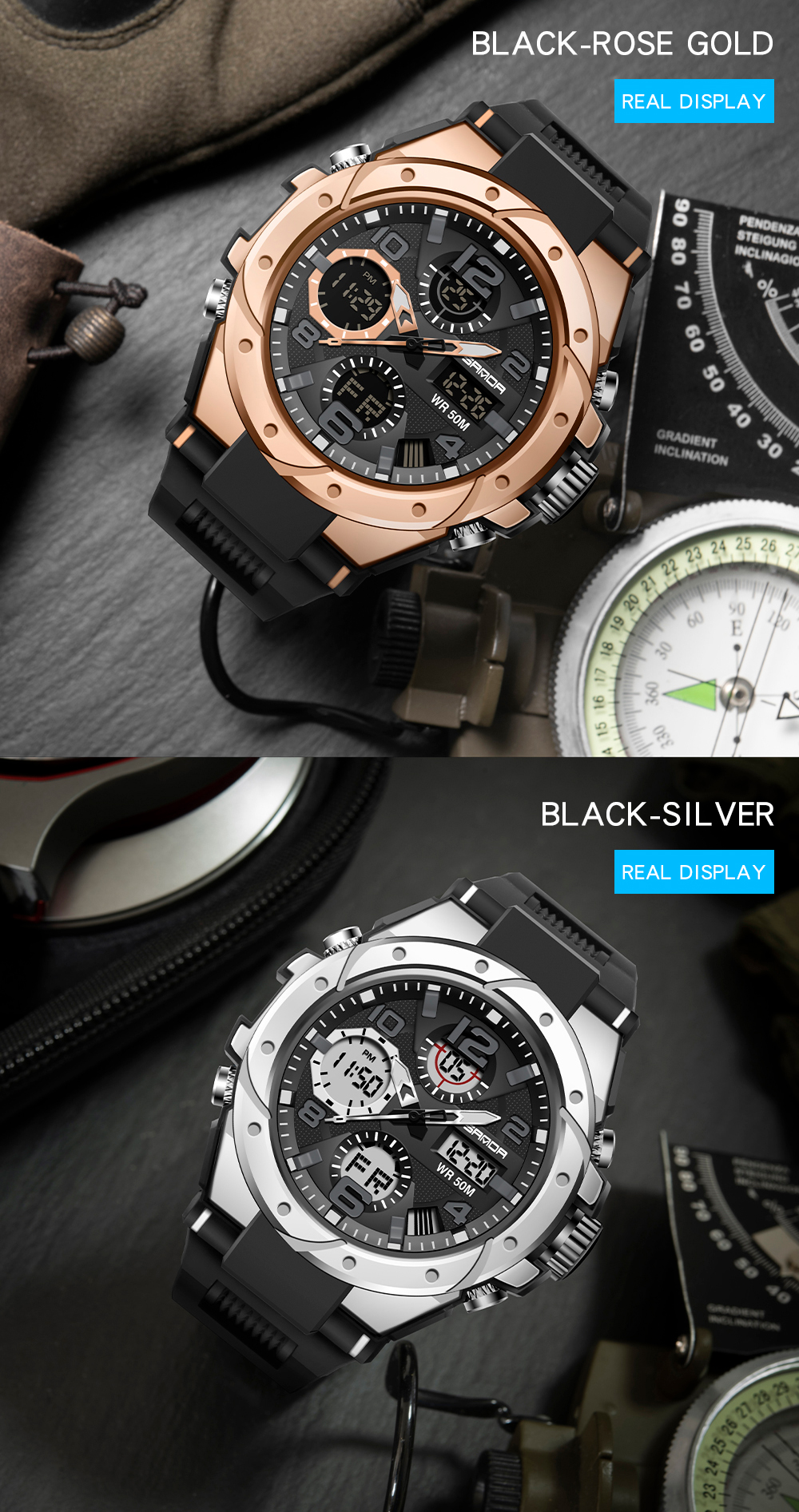 H4e2544b02b9949aeb35de6452e8b7af1k SANAD Top Brand Luxury Men's Military Sports Watches 5ATM Waterproof