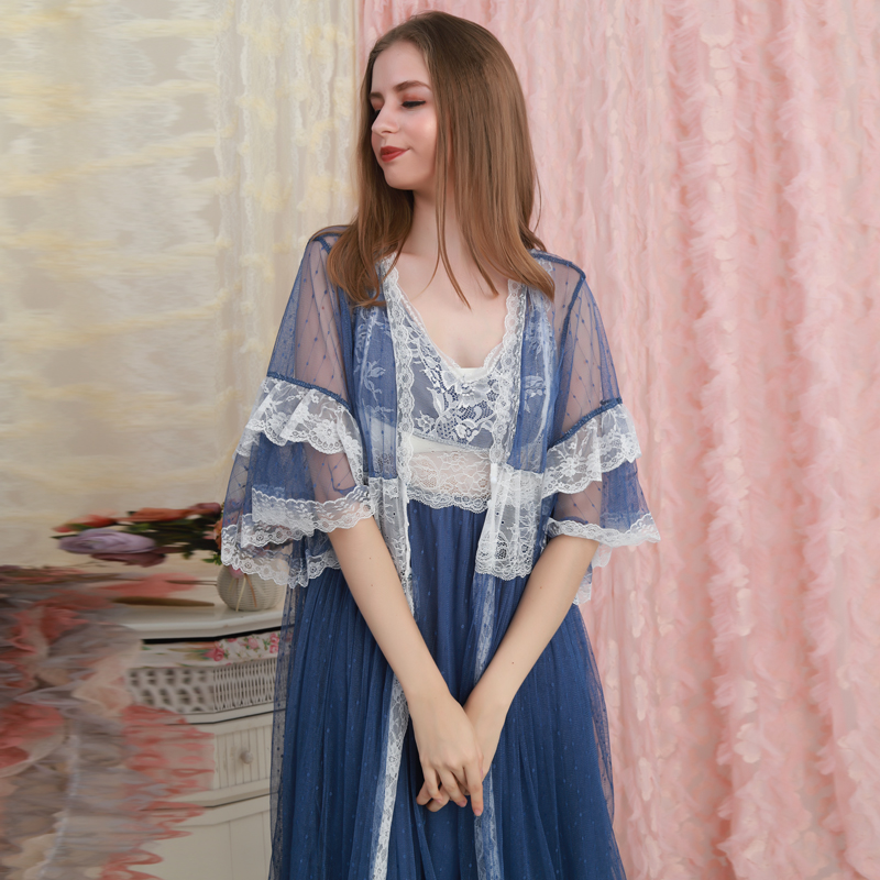 Robe Set Women Lace Long Robe Lady Classic Vintage Robe Loose Nightgown Ladies Sleepwear Gowns Beautiful Women