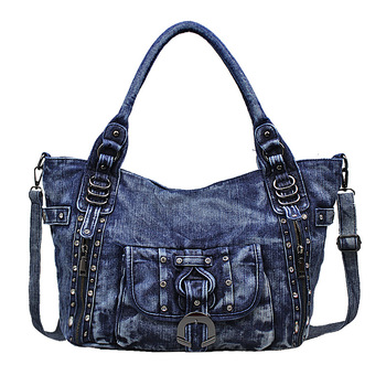 Denim women rivet big tote handbag lady shoulder crossbody bag female bolso mujer bolsa feminina cowboy package pouch for girls