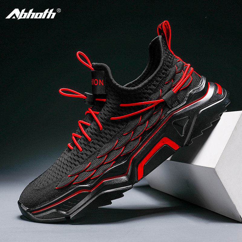 Abhoth Breathable Mesh Men Casual Shoes Lace-Up Lightweight Walking Outdoor Shoes for Men Flexible Gym Shoes Fashion Sneakers