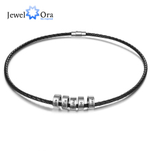 JewelOra Personalized Men Leather Necklaces with Beads Custom 2-5 Names Rope Chain Necklaces for Men Jewelry Gift for Boyfriend