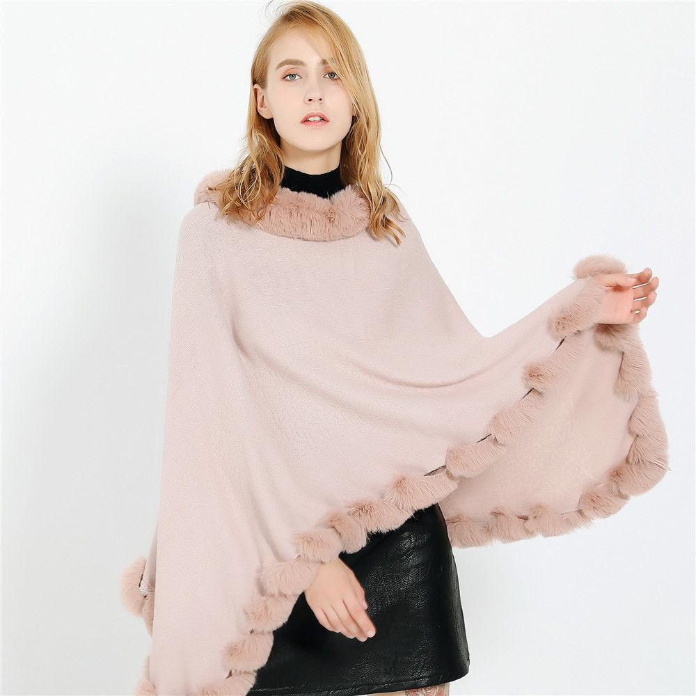 Pink Fur Winter Coat Women Cashmere Poncho Scarves Female Pashmina Scarf Blanket Wraps Scarves And Shawls For Women Keep Warm
