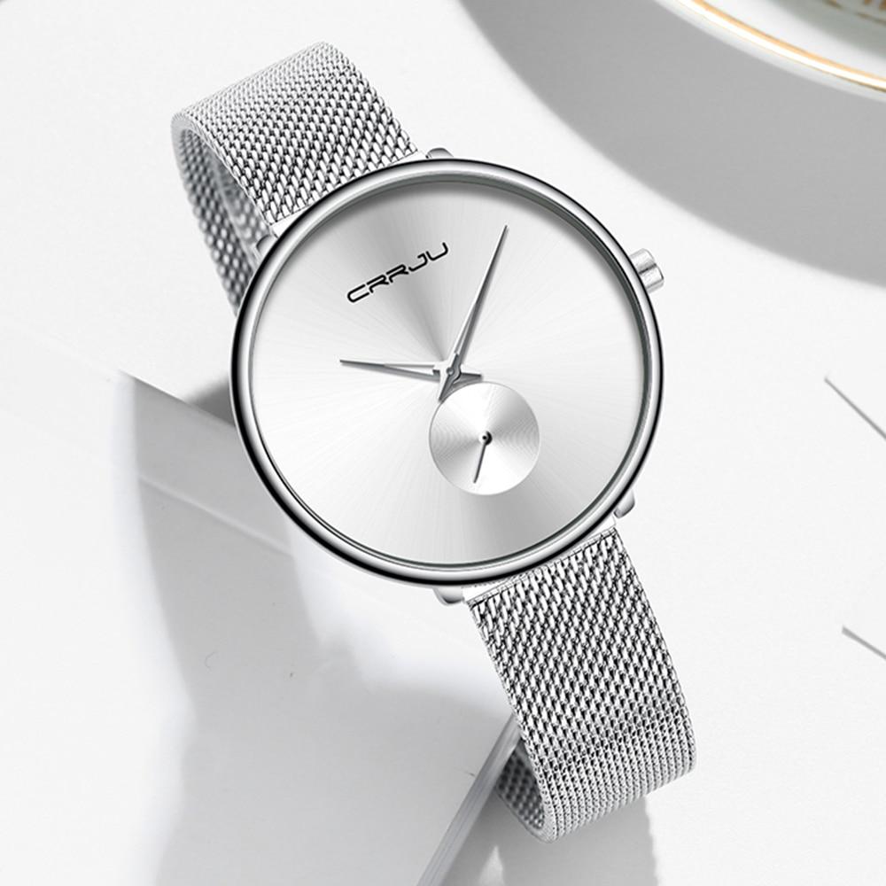 CRRJU Lady Casual Hours Bracelet Watches Women Lover's Female Clock Gift Women's Watch Ultra Thin Stainless Steel Quartz Watch