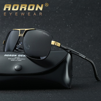 AORON Sunglasses Mens Polarized Sunglasses Aluminum Frame UV400 Sun Glasses Luxury Design Glasses Width 145mm aoron photochromic polarized mens sunglasses classic rectangle sun glasses uv400 aluminum magnesium leg sunglasses