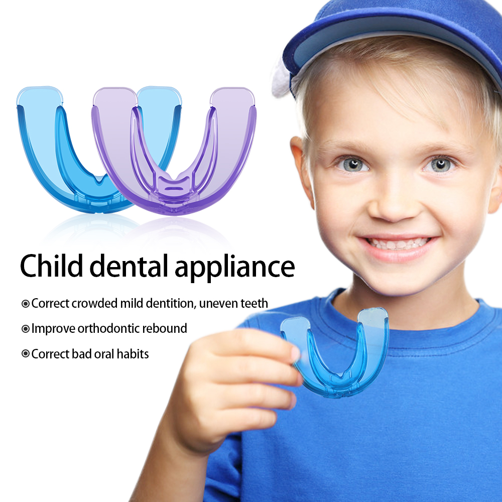Soft Hard Children Orthodontic Braces Appliance Kids Teeth Alignment Trainer Retainer Mouth Guard Teeth Tray Blue Purple Phase12
