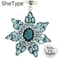 45x38mm Big 5.7g Star Shape London Blue Topaz Party Real 925 Solid Sterling Silver Pendant