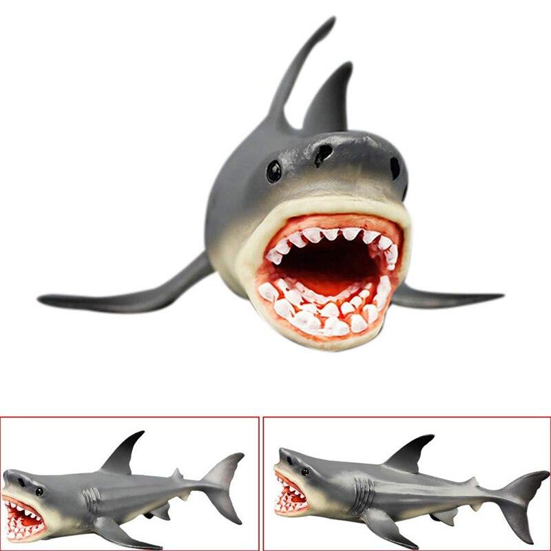 Серый мегалодон доистория Акула океан образование фигурка животного, модель игрушки для детей подарок игрушки для детей/взрослых 18*10 см