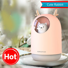 GRTCO 300ml Cute Mini USB Portable Ultrasonic Humidifier Air Essential Oil Aroma Diffuser with 7 Colors Led Lamps Mist Maker