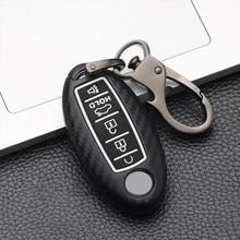 5 Button Carbon fiber Silicone Car Remote key Cover Case For Nissan Patrol Y62 Rouge Maxima Altima Sentra Murano 2018 2019 2020