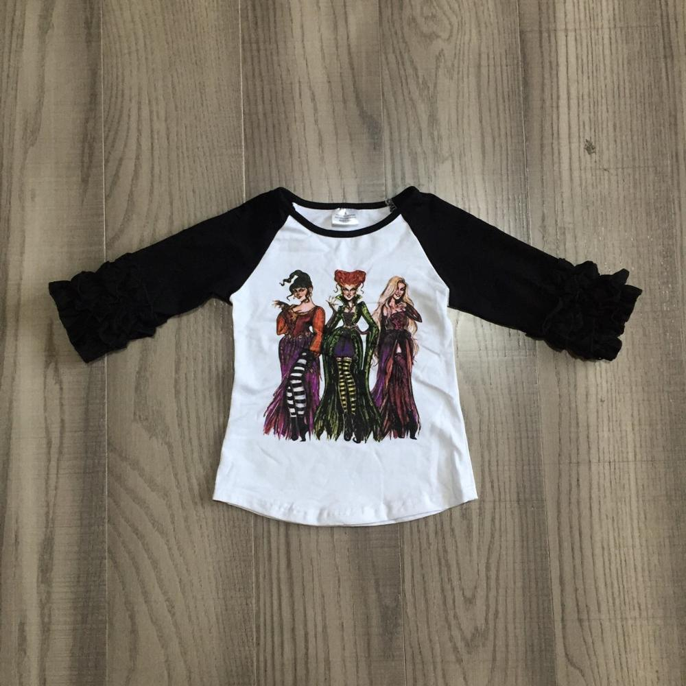 Girlymax Halloween Fall baby girls icing sleeve black witch print boutique top T-shirts raglans cotton children clothes kidswear 1