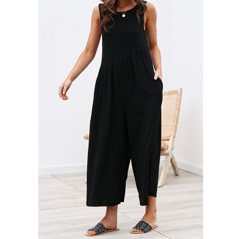 Women Jumpsuit Summer Vintage Overall Casual Sleeveless Romper Loose Backless One Piece Jumpsuit Women Playsuit Clothing