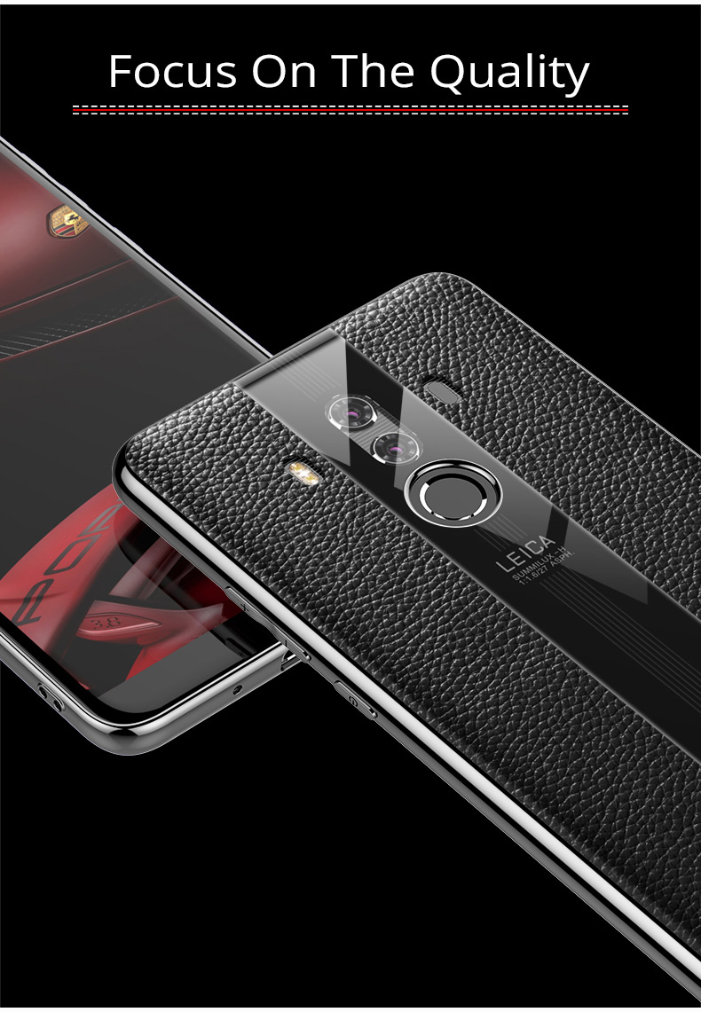 Suitable for huawei huawei mate10 10pro leather glass Porsche protection soft TPU mobile phone back cover for mate9 9pro in Half wrapped Cases from Cellphones Telecommunications