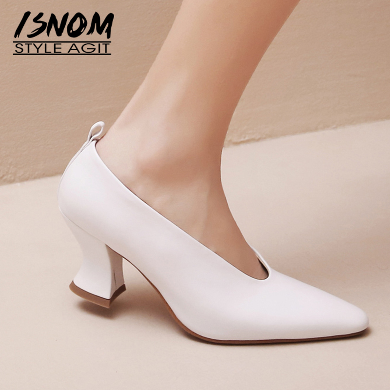 ISNOM Pointed Toe Mules Shoes Women's Thick High Heel Shoes Casual Slip On Natural Leather Female Ladies Pumps 2020 New Fashion