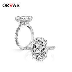 OEVAS 18K białe złoto kolor 100% 925 Sterling srebrne wesele pierścienie dla kobiet musujące 5 karatów owalne wysokiej węgla diament biżuteria