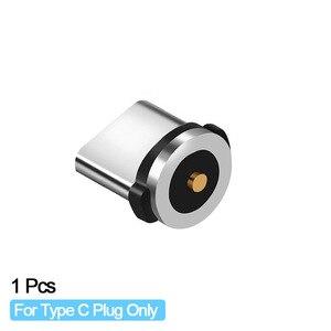 Image 2 - Enchufe de Cable magnético redondo Universal adaptador de Micro USB/Tipo C / 8 pines (solo enchufe magnético) Conector de imán Cabo tapones antipolvo